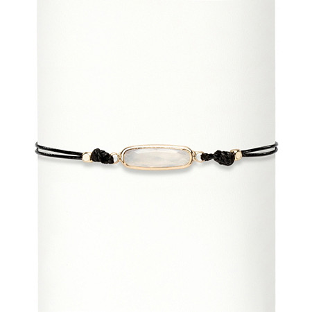 Oval White Faceted Crystal 14k Gold-Plated Black Double Strand Beaded Choker Necklace 12