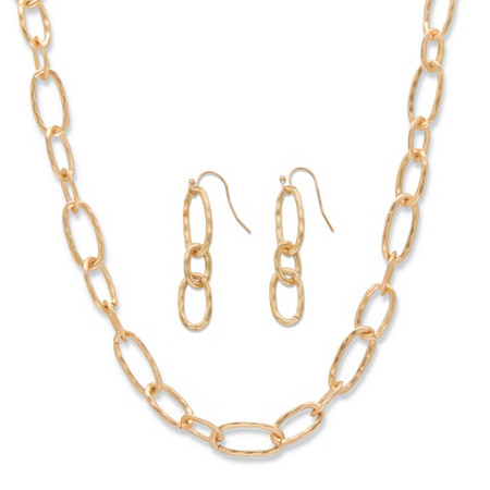 Hammered Oval-Link 14k Yellow Gold-Plated 2-Piece Necklace and Drop Earrings Set 32