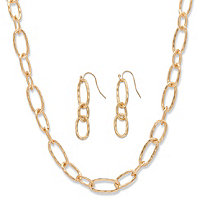 "Hammered Oval-Link 14k Yellow Gold-Plated 2-Piece Necklace and Drop Earrings Set 32""-35"""