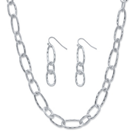 Hammered Oval-Link Silvertone 2-Piece Necklace and Drop Earrings Set 32