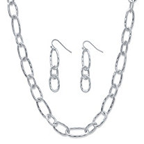 "Hammered Oval-Link Silvertone 2-Piece Necklace and Drop Earrings Set 32""-35"""