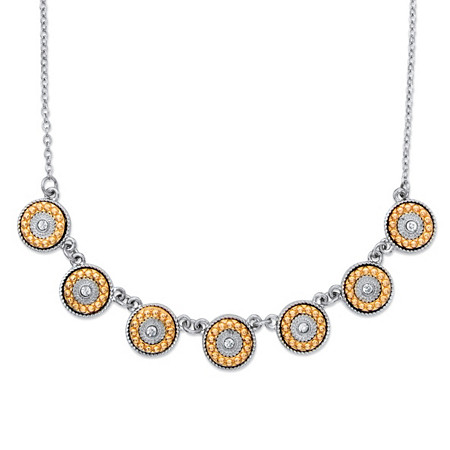 """Round Crystal and Orange Beaded Halo Rolo-Link Necklace in Silvertone 16""""-19"""" at PalmBeach Jewelry"""