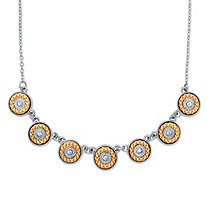 "Round Crystal and Orange Beaded Halo Rolo-Link Necklace in Silvertone 16""-19"""