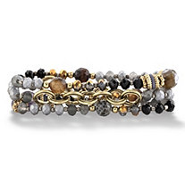 Multicolor and Grey Faceted 14k Gold-Plated Beaded Multi Strand Stretch Bracelet Set 7""