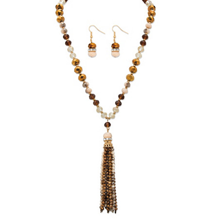 Brown and Gold 14k Yellow Gold-Plated Beaded 2-Piece Necklace and Earrings Set 24