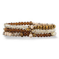 Brown and Champagne Faceted 14k Gold-Plated Beaded Triple-Strand Stretch Bracelet Set 8""