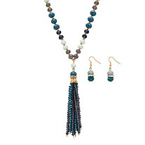 "Blue and Grey 14k Yellow Gold-Plated Beaded 2-Piece Necklace and Earrings Set 24""-27"""
