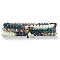 Blue And Grey Faceted 14k Gold-Plated Beaded Triple-Strand Stretch Bracelet ONLY $9.50