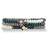 Blue and Grey Faceted 14k Gold-Plated Beaded Triple-Strand Stretch Bracelet Set 8""