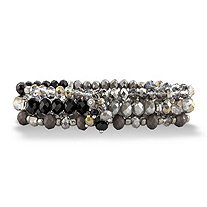 Black and Silver Faceted Silvertone Beaded Triple-Strand Stretch Bracelet Set 8""