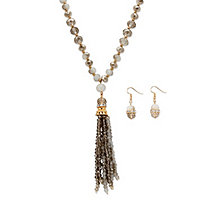 "Grey and White 14k Yellow Gold-Plated Beaded 2-Piece Necklace and Earrings Set 24""-27"""