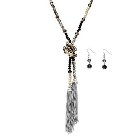 Black and Silver Beaded Silvertone 2-Piece Wraparound Necklace and Earrings Set 32