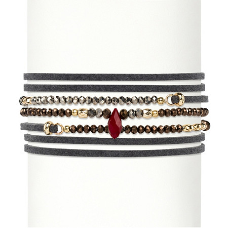 Multicolor Faceted Bead Accent Grey Suede Wraparound Stretch Bracelet 14k Gold-Plated 36