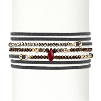 Multicolor Faceted Bead Accent Grey Suede Wraparound Stretch Bracelet ONLY $5.99
