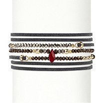 "Multicolor Faceted Bead Accent Grey Suede Wraparound Stretch Bracelet 14k Gold-Plated 36""-37.5"""