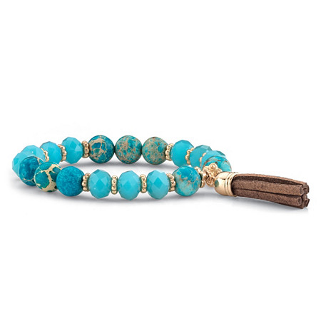 """Blue Simulated Turquoise 14k Gold-Plated Beaded Tassel Fringe Stretch Bracelet 8"""" at PalmBeach Jewelry"""