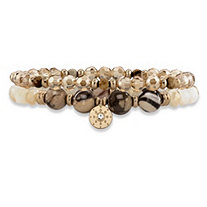 Brown and Gold Faceted 14k Gold-Plated Beaded Double Strand Stretch Bracelet Set 8""