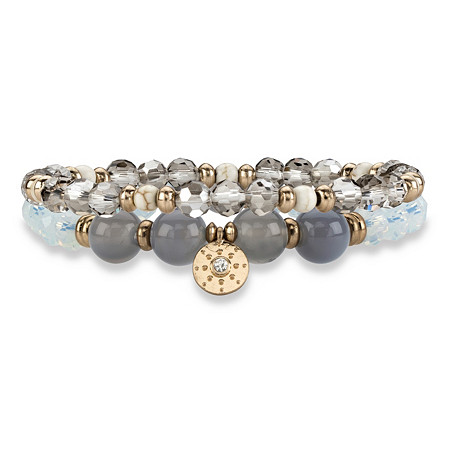 Grey and White Faceted 14k Gold-Plated Beaded Double Strand Stretch Bracelet Set 8