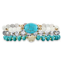 Simulated Turquoise and White 14k Gold-Plated Triple-Strand Beaded Stretch Bracelet Set 8""