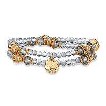 Grey and Gold Faceted 14k Gold-Plated Beaded Double Strand Stretch Bracelet Set 7""