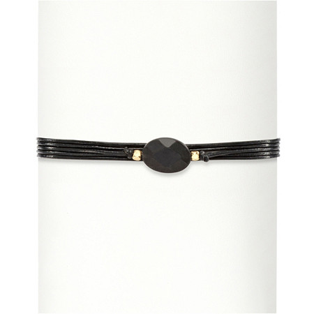 Faceted Black Glass 14k Yellow Gold-Plated Multi-Strand Adjustable Drawstring Bracelet 10