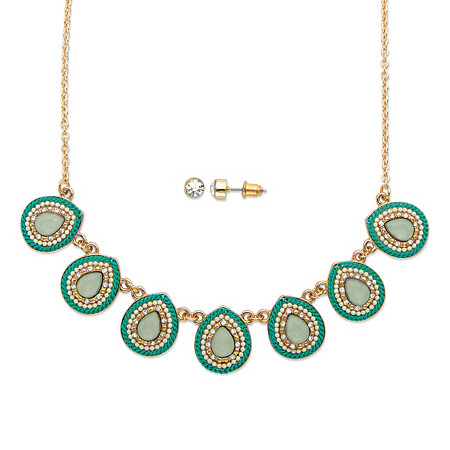 "Pear Drop Simulated Aquamarine and Crystal 14k Gold-Plated 2-Piece Necklace and Earrings Set 16""-19"" at PalmBeach Jewelry"