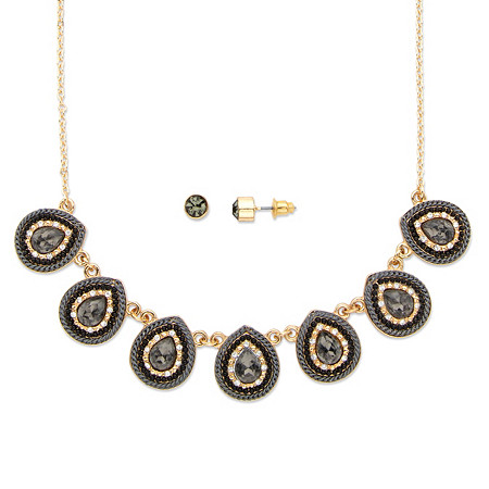 """Pear Drop Grey and White Crystal 14k Gold-Plated 2-Piece Necklace and Earrings Set 16""""-19"""" at PalmBeach Jewelry"""