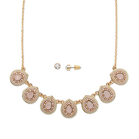 "Pear Drop Pink Crystal 14k Gold-Plated 2-Piece Necklace and Earrings Set 16""-19"" at PalmBeach Jewelry"