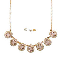 "Pear Drop Pink Crystal 14k Gold-Plated 2-Piece Necklace and Earrings Set 16""-19"""