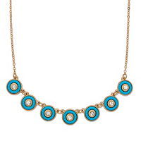 Round Crystal And Simulated Turquoise 14k Gold-Plated Halo Collar Rolo-Link Necklace $14.99