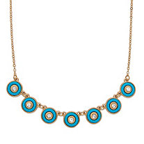 "Round Crystal and Simulated Turquoise 14k Gold-Plated Halo Collar Rolo-Link Necklace 16""-19"""