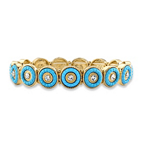 Round Crystal Turquoise 14k Gold-Plated Beaded Halo Stretch Bracelet ONLY $9.55