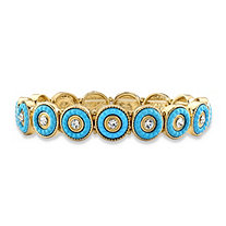 Round Crystal and Simulated Turquoise 14k Gold-Plated Beaded Halo Stretch Bracelet 8""