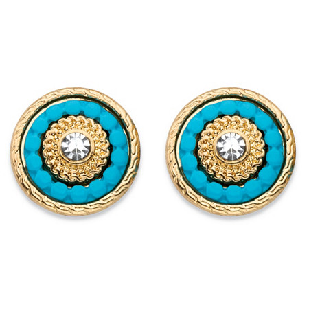 Round Crystal and Simulated Turquoise 14k Gold-Plated Beaded Halo Button Earrings at PalmBeach Jewelry