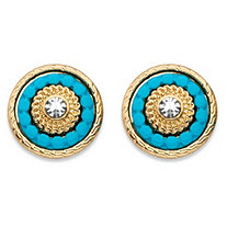 Round Crystal and Simulated Turquoise 14k Gold-Plated Beaded Halo Button Earrings