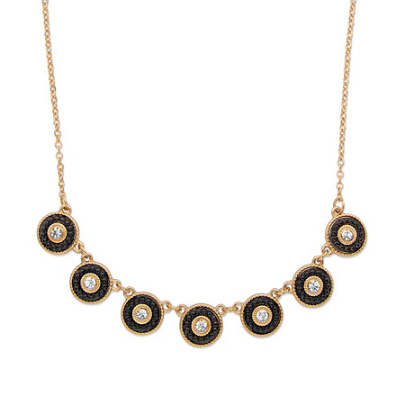 "Round Crystal and Black Beaded 14k Gold-Plated Halo Collar Rolo-Link Necklace 16""-19"" at PalmBeach Jewelry"