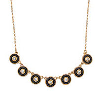 "Round Crystal and Black Beaded 14k Gold-Plated Halo Collar Rolo-Link Necklace 16""-19"""
