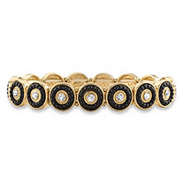 Round Crystal and Black Beaded 14k Gold-Plated Halo Stretch Bracelet 8""