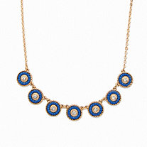 "Round Crystal and Blue Beaded 14k Gold-Plated Halo Collar Rolo-Link Necklace 16""-19"""