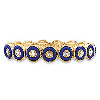 Round Crystal and Blue Beaded 14k Gold-Plated Halo Stretch Bracelet 8""