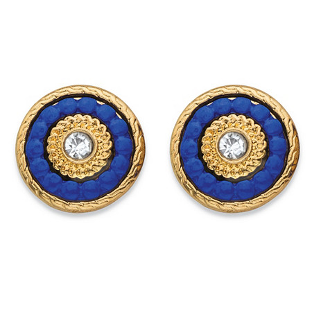 Round Crystal and Blue Beaded 14k Gold-Plated Halo Button Earrings (12mm) at PalmBeach Jewelry