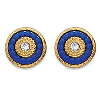 Round Crystal and Blue Beaded 14k Gold-Plated Halo Button Earrings (12mm)