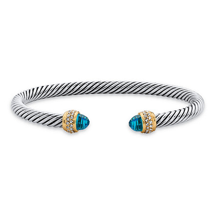 Aquamarine Blue Cubic Zirconia Open Cuff Bangle Bracelet 2.11 TCW in 14k Yellow Gold-Plated and Silvertone 7.5