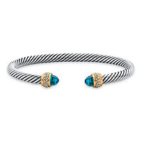 Aquamarine Blue Cubic Zirconia Open Cuff Bangle Bracelet 2.11 TCW in 14k Yellow Gold-Plated and Silvertone 7.5""