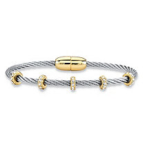 "Cubic Zirconia Gold Tone and Silvertone Beaded Station Twisted Cable Bangle Bracelet 7"" (1.19 cttw)"