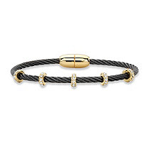 "Cubic Zirconia Gold Tone and Black Ruthenium-Plated Twisted Cable Bangle Bracelet 7"" (1.19 cttw)"