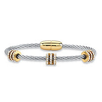 "Cubic Zirconia Silvertone and Gold Tone Beaded Magnetic Twisted Cable Bangle Bracelet 7"" (.72 cttw)"