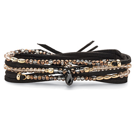 Multicolor Faceted Beaded Wraparound Stretch Bracelet in Black Suede with 14k Gold-Plated Accents 36