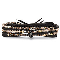 "Multicolor Faceted Beaded Wraparound Stretch Bracelet in Black Suede with 14k Gold-Plated Accents 36""-37.5"""