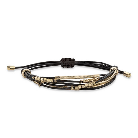Black and Gold Beaded Drawstring Rope Bracelet with 18k Yellow Gold-Plated Accents 10